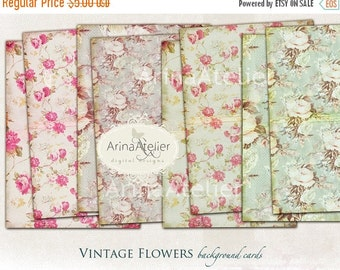 30% OFF SALE Vintage Flowers Background Papers Set no.1 - Background - digital collage sheet - set of 4 - Printable Download