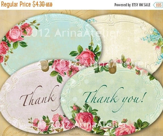 SALE 30% OFF - Shabby chic Roses Labels - Tags - Collage Sheet Download - Set of 2 Sheets - Hang Tags - Digital Labels - Shabby chic Labels