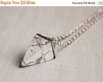 SALE Howlite Geometric Triangle Necklace. Gemstone Necklace.