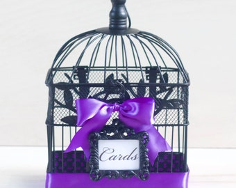 Wedding Card Bird Cage - Shower Card Holder - Birdcage Cards - Wedding Card Holder - Black Bird Cage -  Butterflies - Custom Birdcage