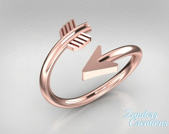 Solid 14k Yellow, Rose or White Gold Arrow Ring