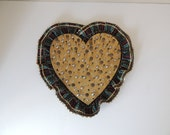 Handcrafted Rustic Painted Gold Heart Tack Jewelry Holder. Heart Shaped Thumb Tack Wall Hanging. Large Heart Ruffled Primitive Wall Decor.