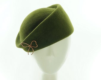BERET Hat for Women- PILLBOX Hat - Olive Green Beret - Fur Felt Hat - Vintage Style - Retro Fashion - Handmade Hat - Etsy Hats