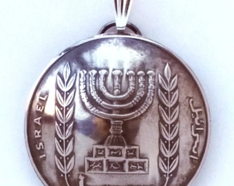 1963 - 1979 Made In Israel Birth Year Coin Jewelry Menorah Coin Pendant 40th 50th Anniversary Birthday Hanukkah Gift For Her For Him