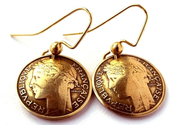 French Coin Earrings Antique Gold Colored Jewelry Woman Birthday Gift for Her Christmas Gift for Her France Coin Earrings
