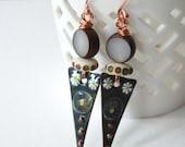 Triangular Earrings, Dark Gray Earrings, Enamel Earrings, Lampwork Glass Earrings, Boho Chic Earrings, Long Earrings, Unique Earrings
