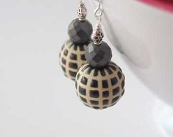 Checkerboard Earrings, Black Grid Earrings, Ceramic Earrings, Geometric Earrings, Faceted Earrings, Beaded Earrings, Large Earrings