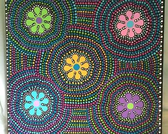 Original Dot Flower Acrylic Painting