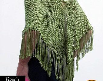 Handweaved pistachio glamorous poncho ready to ship