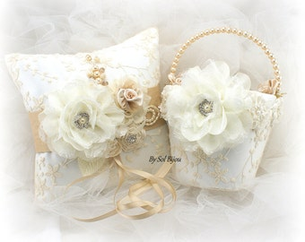 Flower Girl Basket, Wedding Ring Pillow, Ivory, Tan, Champagne, Lace Pillow, Lace Basket, Vintage Wedding, Elegant, Pearl Basket, Crystals