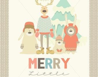 Christmas Typography 11 x 14 sign, Merry Christmas, Reindeer Poster, Woodland Animals Christmas Art