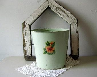 Vintage cottage green metal wastebasket Mint green tin trash can