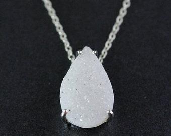 ON SALE Icy Teardrop Druzy Necklace - Teardrop Druzy - 925 Sterling SIlver