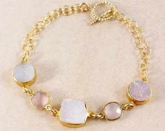 ON SALE Pink Chalcedony Bracelet – Druzy – Choose Your Gemstones
