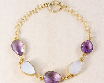 20% OFF Pink Amethyst Bracelet – White Druzy – 14K Gold Filled