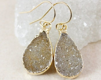 50% OFF Brown Sugar Druzy Dangle Earrings - Choose Your Druzy - Gold or Silver