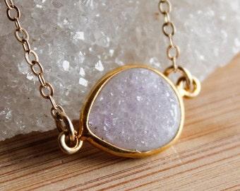 CLEARANCE SALE Gold Agate Druzy Quartz Necklace - Side Teardrop - Choose Your Stone