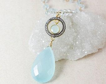 40 OFF SALE Blue Chalcedony Teardrop Necklace – Pave White Topaz – Aquamarine Chain