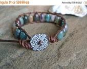 30% OFF SALE Kagawa Jade Beaded Leather Wrap Bracelet