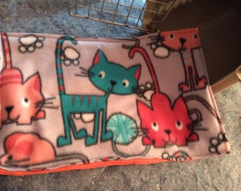 Fleece Crate Mat  in Multi Colored Cats with Yarn