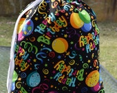 BIRTHDAY GIFT BAG  - Extra Large Reusable Material Cloth - Happy Birthday - Balloons & Streamers