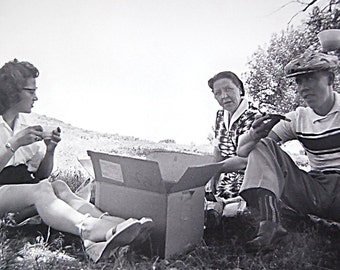 Print of Vintage Photograph of Friends Having a Summer Vacation Roadside Picnic.