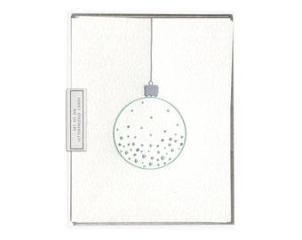 Christmas Ornament letterpress card - set of six