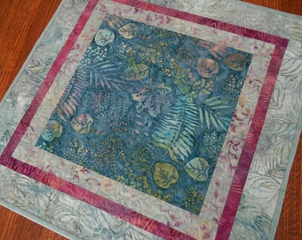 Quilted Batik Table Topper with Leaves and Ferns in Teal Aqua and Pink, Quilted Square Table Mat, Quilted Tablecloth, Quiltsy Handmade
