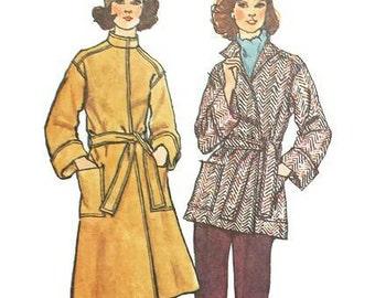 Vintage 1970s Coat Pattern Wrap Coat Standing Collar Tie Belt Large Pockets 1974 Simplicity 6633 Bust 34