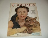 Womans Home Companion Magazine November 1949, Lady with Cat Cover, Vintage Ads, Paper Ephemera, Retro, Collectible