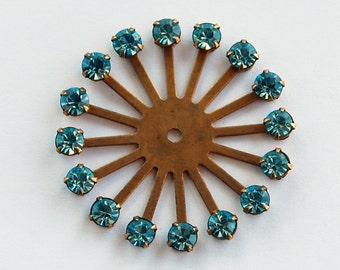 Vintage Brass Rhinestone Spoke Swarovski Aqua Blue 40mm