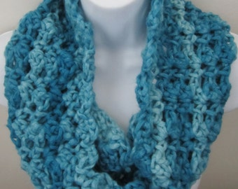 Crocheted Cowl, Infinity Scarf, Blue Teal, Women's Accessories, Chunky Cowl