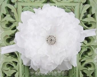 White Flower Headband - Jumbo White Peony w/ Rhinestone Center Headband or Hair Clip - Baby Toddler Child Girls Headband