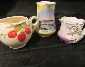 3 Small Creamer Pitchers, Collectable Pitchers, Kitchen Storage Pitchers, Pitcher Vases, Souvenir Creamer