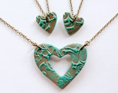 Mother and Two Daughters Matching Necklace Set in Teal and Copper