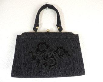 50's black floral handbag Faye Mell Designs textured velvet flowers purse vintage bag
