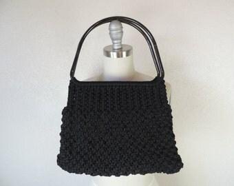 vintage black macrame purse 60s oversize boho bag gothic shopper knot knit handbag