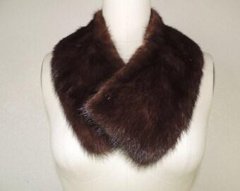mink fur collar 50's brown fur stole mink dress ruff vintage fur collar
