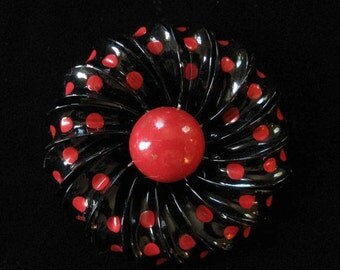 Flower Power 1960s Enamel On Copper Brooch, Red Polka Dots on Black