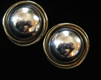 Mexican Sterling Silver and Brass Button Earrings, LARGE