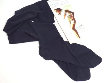 Berkshire Navy Stockings for Garterless Girdle Vintage 1960s 1970s Nylons in Original Packaging - FREE Domestic Shipping