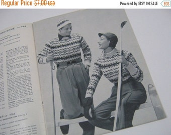 SALE SALE SALE Vintage Knitting Pattern Book Magazine Bear Brand Winter Sports Fashion Sweaters 1957