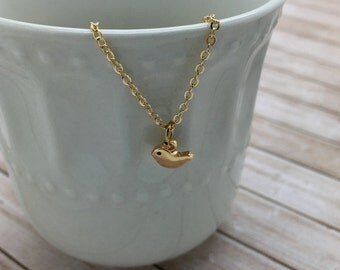 Tiny Bird Necklace- small Gold Bird charm necklace - choose carded Thinking of You or in a silver gift box