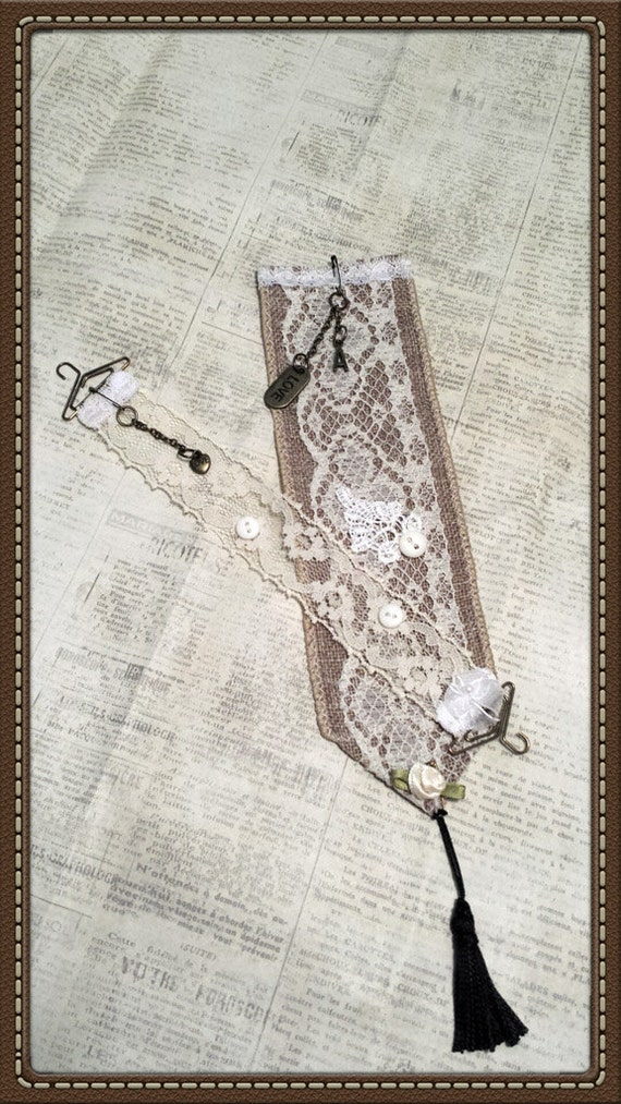 Vintage Look, Burlap & Lace Bookmark Pair, Charms and Initial Accents