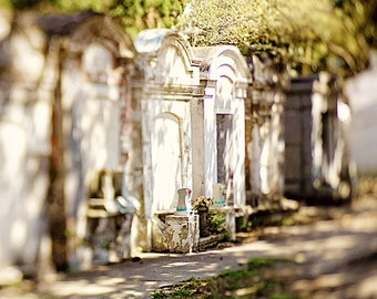 """New Orleans Cemetery Fine Art Photography """"Row of Tombs"""" white, green, tombs, home decor, wall art, Louisiana photograph"""