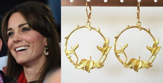 kate middleton leaf branch hoop earrings e707 by dbakerjewelry