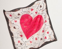 ON SALE 25 OFF Free Shipping Mens Hand Painted Silk Pocket Square Heart 16 X 16 Foulard Small Bandana Red Black Valentines Day Wedding
