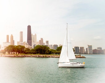 Sailboat Photography, Chicago skyline art, nautical wall art print, sky blue, white wall art, sailing, Lake Michigan