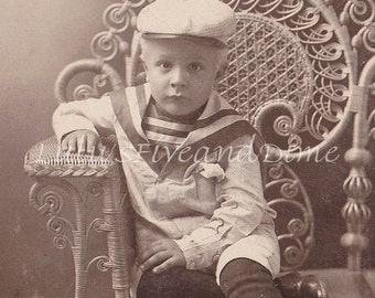 Vintage Cabinet Photo - Adorable Little Boy in Sailor Suit