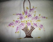 Antique table runner flower baskets  lavender/purple    hand embroidered cotton Cottage Chic on Sale